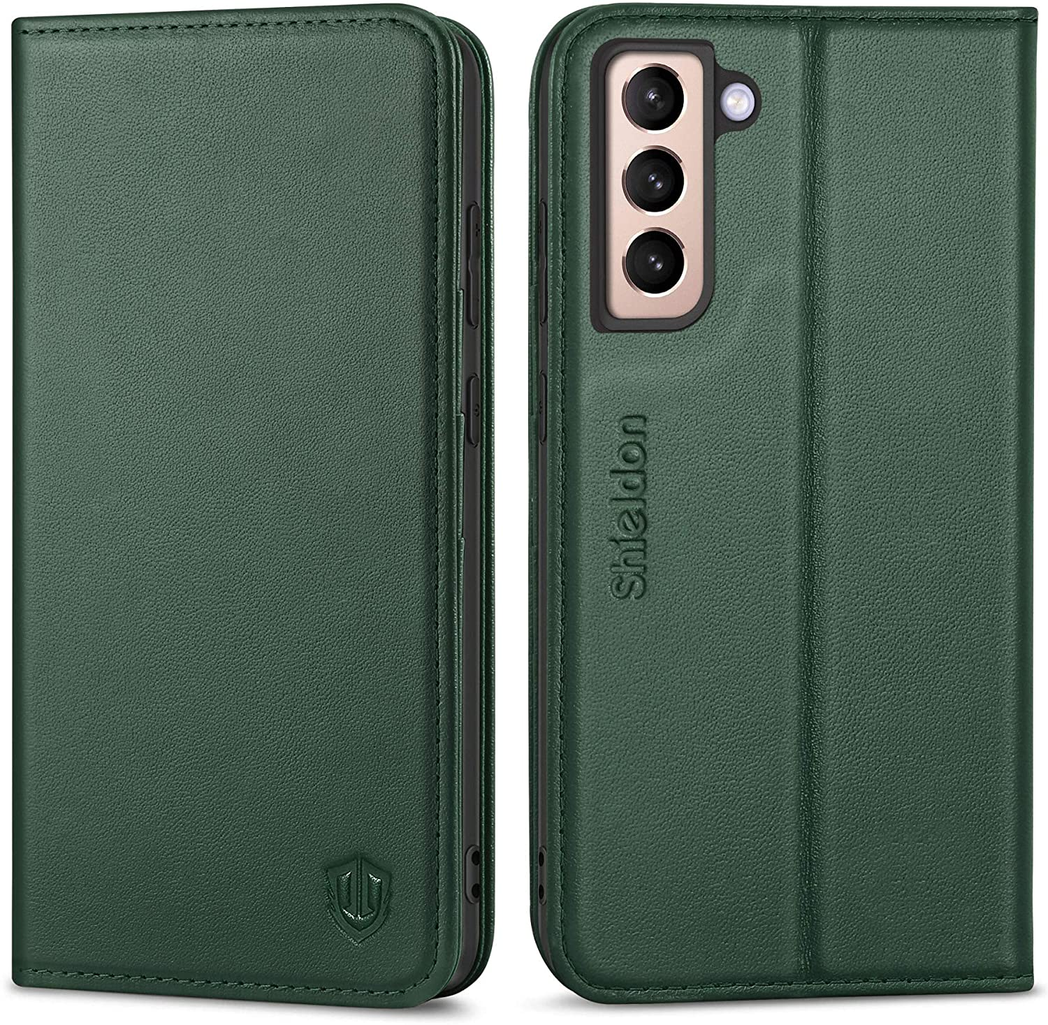 SHIELDON Galaxy S21 5G Case, Genuine Leather Wallet Case Folio Cover Stand Feature Magnetic Protective Case with RFID Blocking Card Slots + Side Pocket Compatible with Galaxy S21 5G - Midnight Green