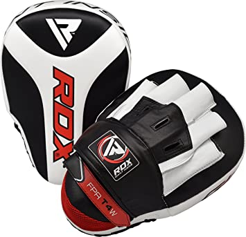 RDX Boxing Pads Focus Mitts   Maya Hide Leather Curved Hook and Jab Target Hand Pads   Great for Kickboxing, Martial Arts, MMA, Muay Thai, Karate Training   Padded Punching, Coaching Strike Shield