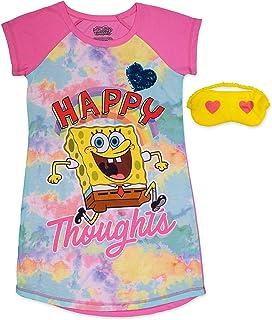 لباس شب لباس خواب دخترانه SpongeBob ، بسته لباس خواب با ماسک خواب
