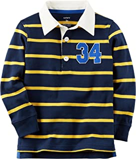 Carter's Boy's Long-Sleeve Rugby Varsity Striped Polo; Navy & Yellow (5)