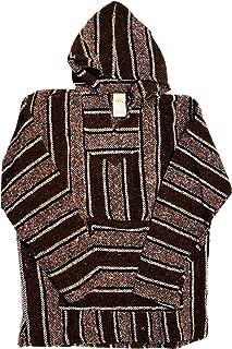 Unisex Jerga/Baja/Mexican Blanket Woven Hoodie Hooded Poncho Jacket