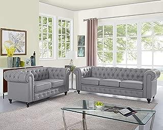 Naomi Home Emery Chesterfield Love Seat & Sofa Gray