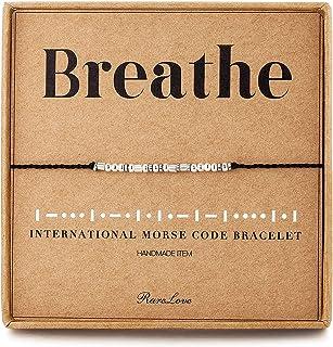 RareLove Breathe Morse Code Bracelet Inspirational Friendship Gift 925 Sterling Silver Beads Women BFF Beaded Bracelets Ad...