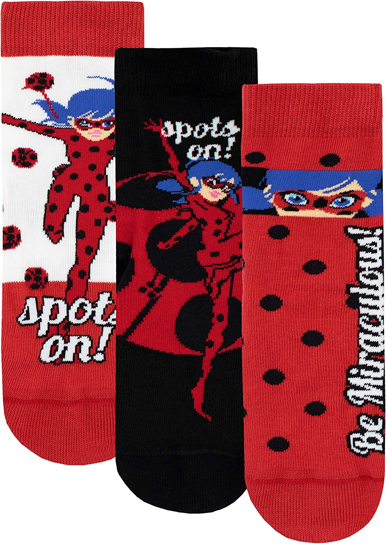 Miraculous Ladybug Girls' Lady Bug Socks Pack of 3