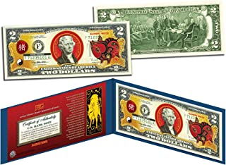 Chinese Zodiac YEAR OF THE PIG Colorized $2 Bill US Legal Tender Lucky Money by Merrick Mint