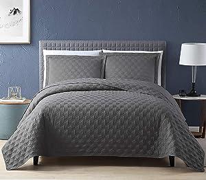EXQ Home Quilt Set Twin Size Grey 2 Piece,Lightweight Microfiber Coverlet Modern Style Onion Flower Pattern Bedspread Set(1 Quilt,1 Pillow Shams)