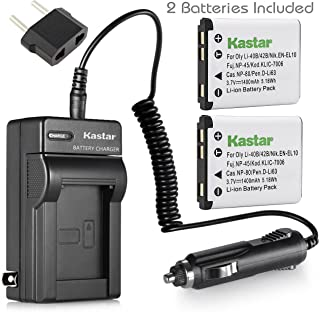 Kastar 2Pcs Battery and Charger for Olympus Stylus 720SW 725SW 730 740 750 760 770SW 780 790SW 820 830 840 850SW 1040 1050SW 1200 5010 7000 7010 7030 7040 Tough 3000 770SW and Olympus LI-42B