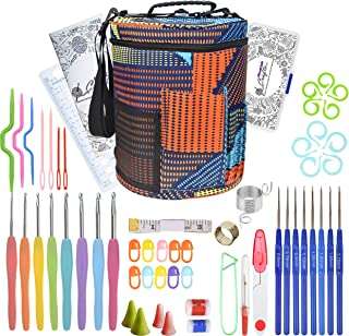 Crochet Hooks Set with Large Knitting Yarn Storage Bag - Complete Crochet Kit with Accessories for Beginners - Knitting Ho...