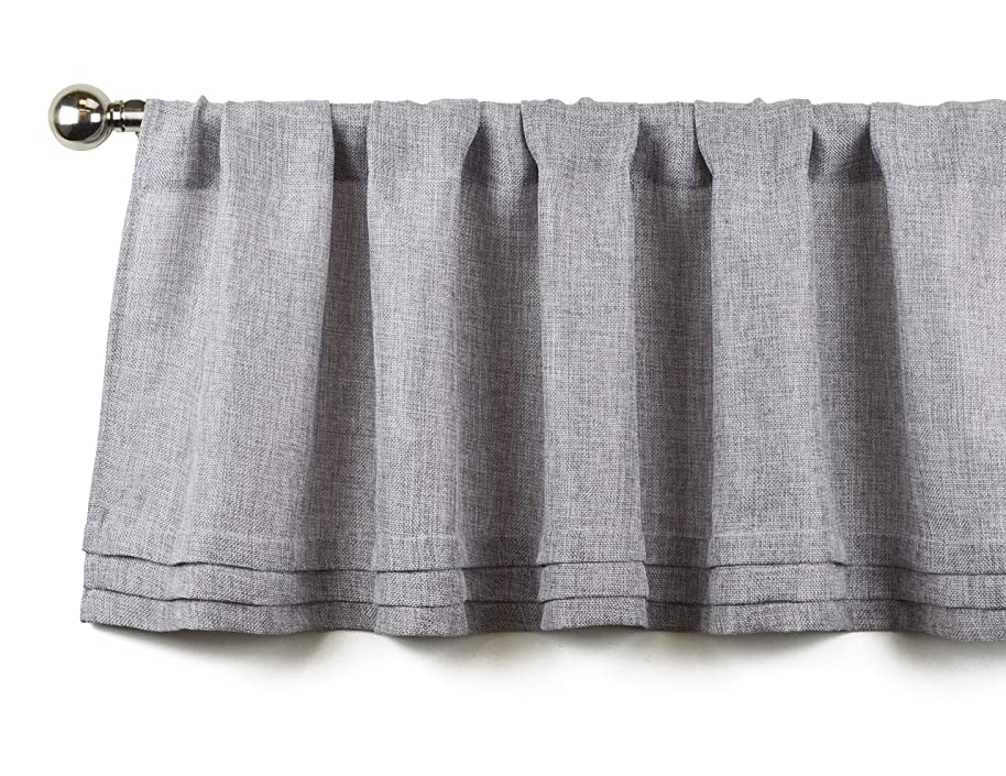 Aiking Home Semi-Sheer Faux Linen Pleated Valance 56 by 14 Inches, Grey ciwdgmyu9116
