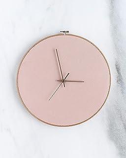 Reloj de pared de piel - Tamaño grande - Rosa. Diseño minimalista y escandinavo. Regalo para el/ella. Relojes de pared. De...