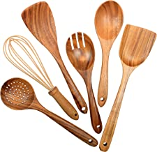 Wooden Utensils for Kitchen,6 Pack Wooden Spoons for Cooking Natural Teak Wood Spatula Draining Spoon Whisk and Salad Fork...