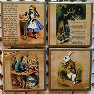Alice in Wonderland coasters with gold trim