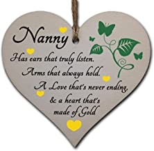 Handmade Wooden Hanging Heart Plaque Gift for Nanny Loving Thoughtful Present