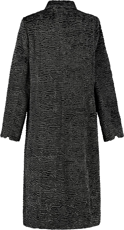 Ulla Popken Damen große Größen Mantel, Persianeroptik, Revers, Langarm, Selection 750755 Grau (Dunkelgrau-melange 75075511)