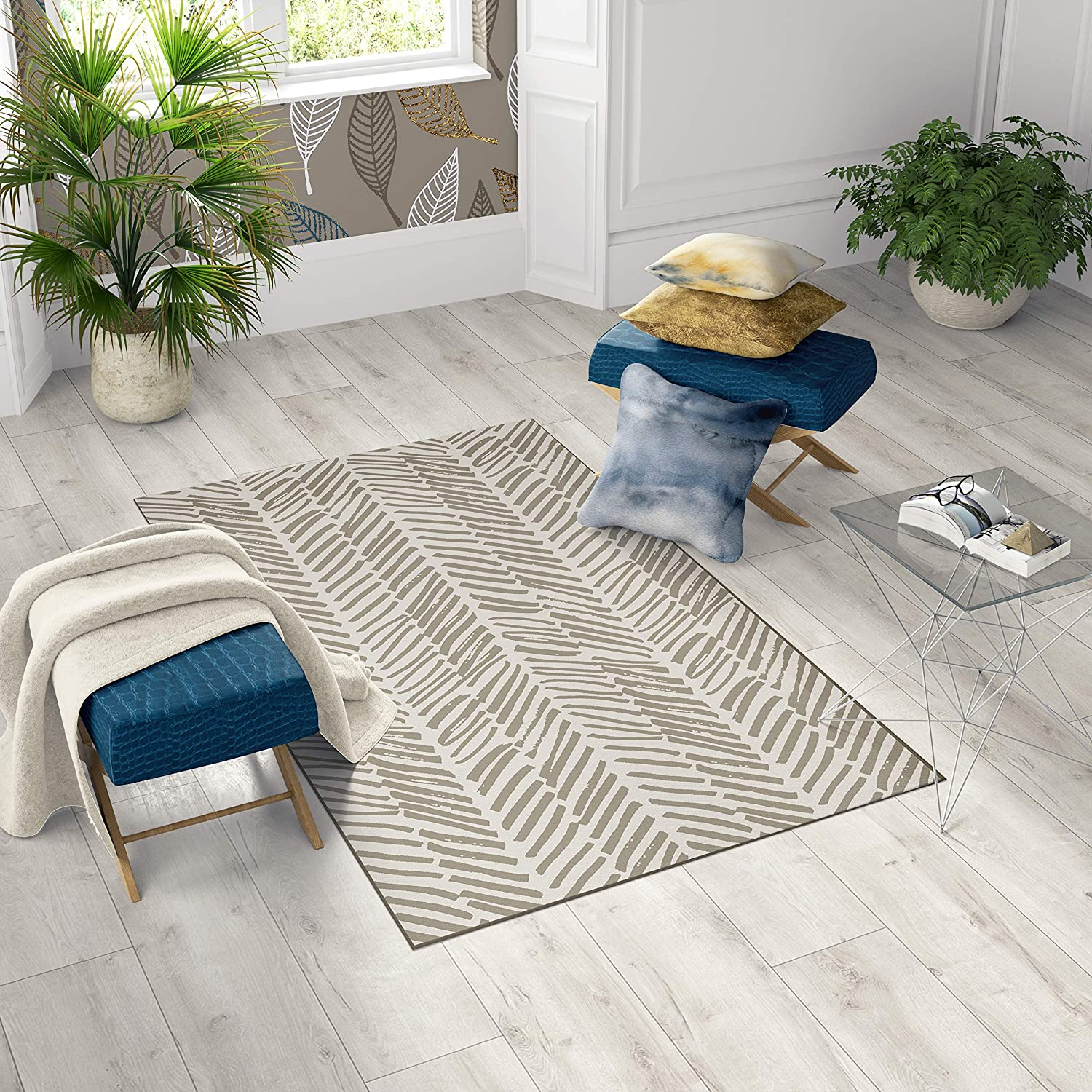 DEERLUX Max 41% OFF Modern Living Room Area Rug Nonslip Save money 6 Backing with 4 x
