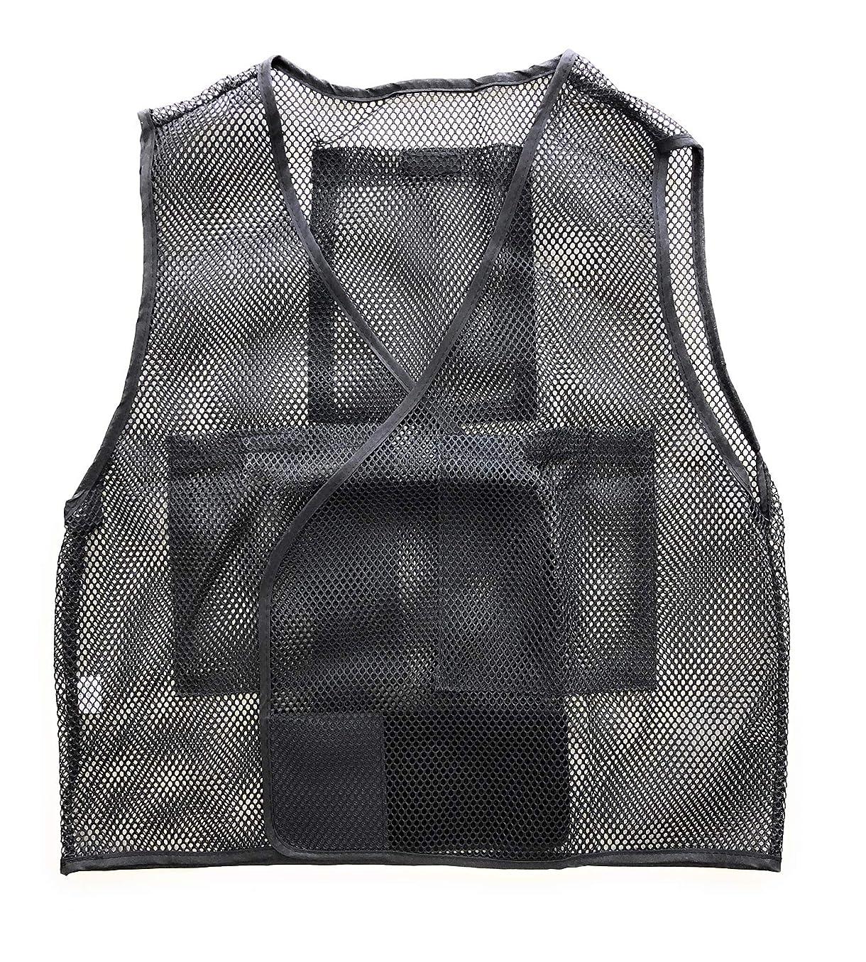 PAX-ASIAN ひんやりMAX 男女兼用 熱中対策 涼感 メッシュベスト 保冷剤収納ポケット 前後4個収納可能 (冷却剤は別売りです)ブラック #935(1)