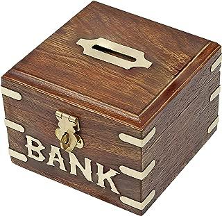 SKAVIJ Wooden Handmade Coin Bank Money Saving Box (Brown)