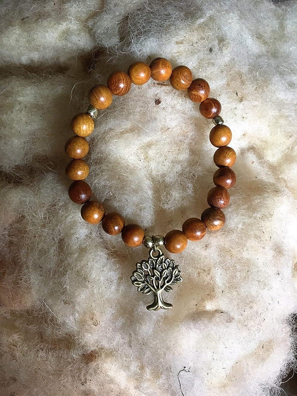 Handmade Sandalwood Bracelet, Tree of Life Charm, Peace | Calming | Protection, 8MM Round Beads