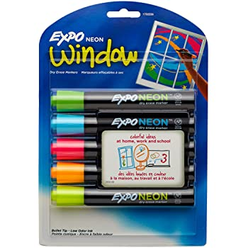 Expo Dry Erase Neon Markers, Bullet Tip Dry Erase Markers, Whiteboard Markers, Assorted Colors, 5 Count