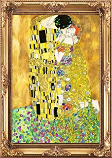 Fabulous Décor - Wall Contemporary Masterpiece Classic Art, High Definition Large Vinyl Decal Sticker of Framed The Kiss, ...
