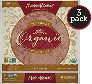 Maria & Ricardo's Organic Whole Wheat Tortillas. (3 Pack) USDA Certified Organic, Non GMO PV, Vegan, Kosher. 8 Tortillas per Pack