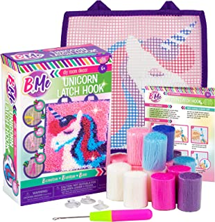 B Me DIY Unicorn Latch Hook Kit for Girls - Mini Rug Sewing Set with 15 Colorful Yarn Bundles, Color-Coded Canvas, DIY Gri...