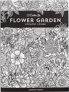 American Crafts Creative Zen Coloring Book Flower Garden, 8.5-x-11-inch