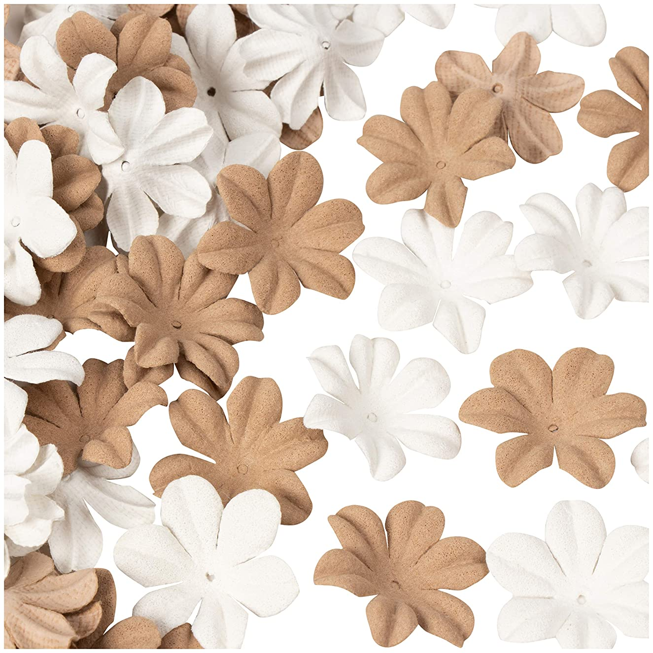 Decorative Craft Flowers - 100-Pack Flower Embellishment, Applique, Table Scatter, Artificial Flower Head for Scrapbooking, DIY, Wedding, Party, Home Decoration, White and Brown, 1 x 1 x 0.3 Inches