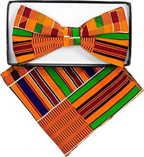 Kente Print Bow Tie and Handkerchief Set