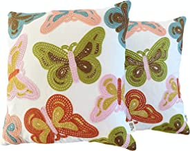 Eight Owls Butterfly Design Cotton Canvas Embroidered Pillow Cover - Set of 2