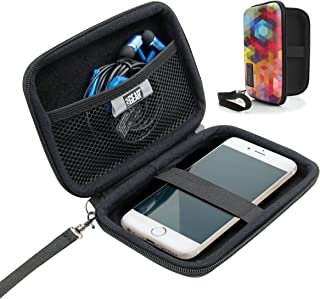 USA Gear Hard Shell iPod Travel Case Compatible with Apple iPod Touch (7th Generation, 6th Generation, 5th Generation), MP3 Player Case with Water-Proof Exterior, Wrist Strap - Geometric