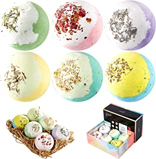 FEATHER SENSE 6 Large Natural Bath Bombs (6x110g), Handmade Bath Bombs Gift Set, Rich in Essential Oil, Fizzy Spa to Moist...