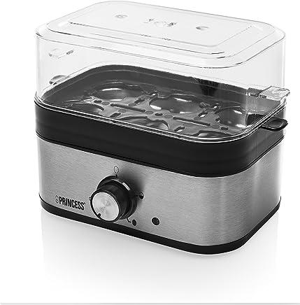 Princess 01.262041.01.001 煮蛋器 350 W 适用于 1-6 个鸡蛋 具有硬度设置功能 262041 银色 黑色