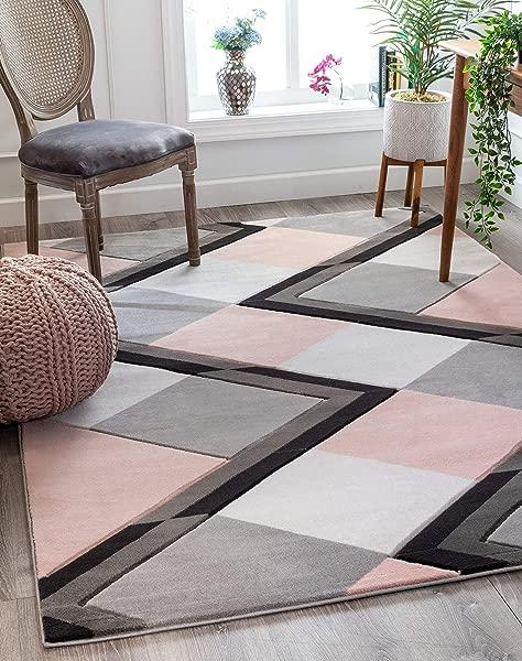 编织好的纳雅腮红粉色现代几何钻石盒子图案区域地毯 8x10 7 10X10 6