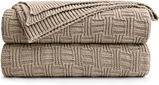 Cotton Khaki Cable Knit Throw Blanket for Couch Sofa Bed with Bonus Laundering Bag – Large 60 x 80 Thick, 3.4 LB, Machine Washable, Comfortable Home Décor
