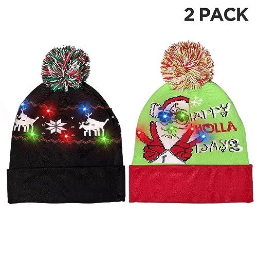 bb437f3fbcb Windy City Novelties LED Light-up Knitted Ugly Sweater Holiday Xmas  Christmas Beanie - 3