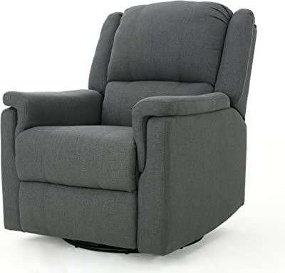 Jemma Tufted Fabric Swivel Gliding Recliner Chair (Charcoal)