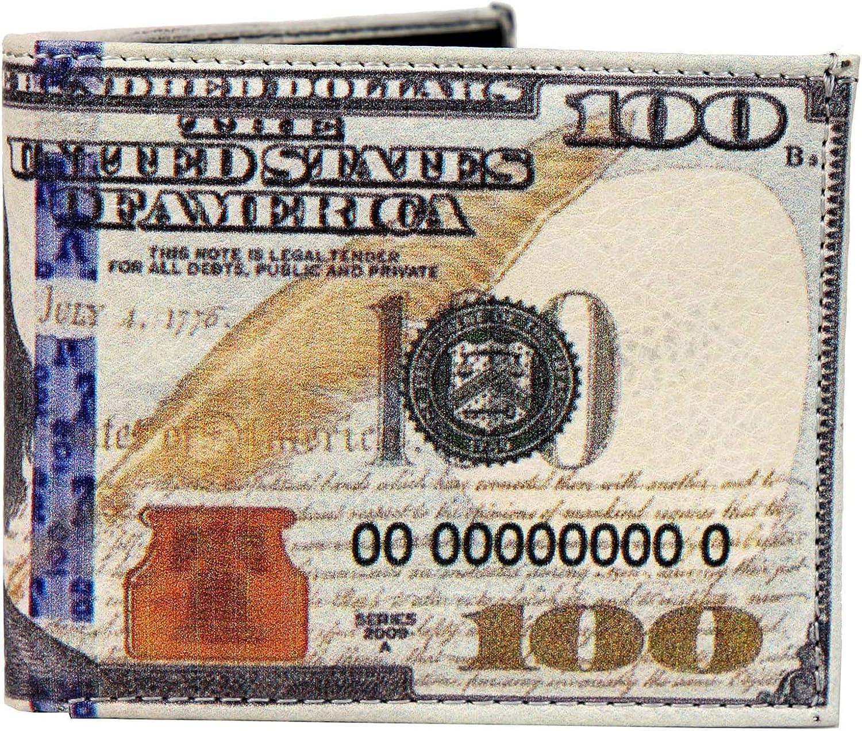 WLT-107 - Mens USA New $100 Dollar Bill Wallet Credit Card Holder and ID Display