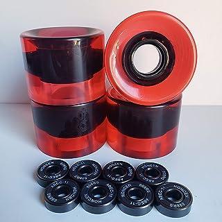 k's factory スケートボード ウィール ベアリングABEC11 セット スケボー ソフトウィール60×45 透明レッド 赤