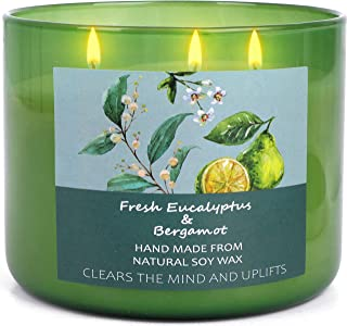 Soy Candles For Home Scented Aromatherapy Eucalyptus and Bergamot Stress Relief Candles Relaxing Gifts for Women and Men |...