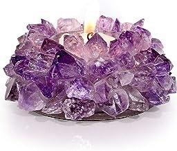 حامل شموع Tealight كريستالي من الجمشت الطبيعي من KALIFANO - جيوود مزخرف عالي الطاقة مع تأثيرات علاجية