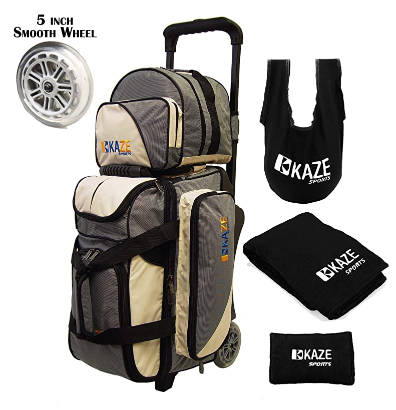 KAZE SPORTS 2 Ball Bowling Roller with Color Match Add On Spare Tote and Accessories Pack