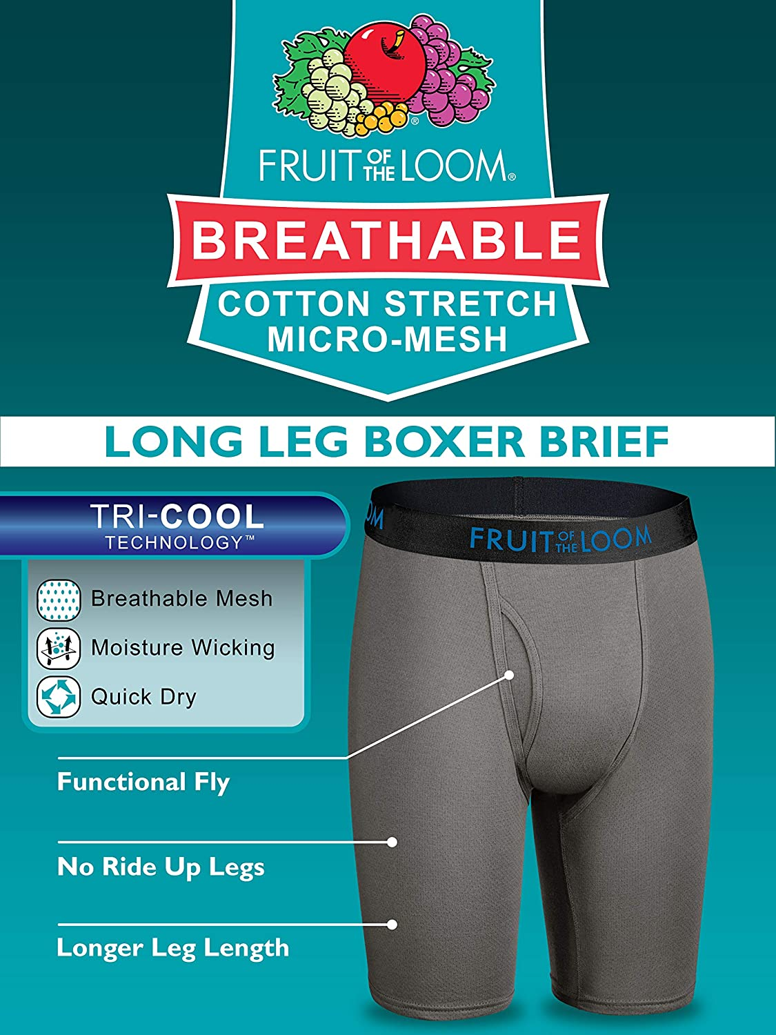 Fruit of the Loom Mens Boxer Briefs Pack of 3
