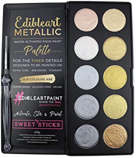 Sweet Sticks Metallic Water Activated Palette of Colors to Write on Food; Includes 1 Fine-Line Brush