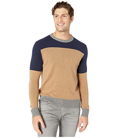 J.Crew Merino Nylon Color Block Crew (Color Block Navy) Men