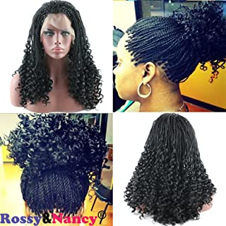 Rossy&Nancy Black Twist Braids Hair Wigs Curly Braided Lace Front Wig with Baby Hair Synthetic Heat Resistant Fiber Glueless Half Hand Tied for Women 20inch