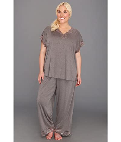 Natori Plus Size Zen Floral PJ Set (Heather Grey) Women