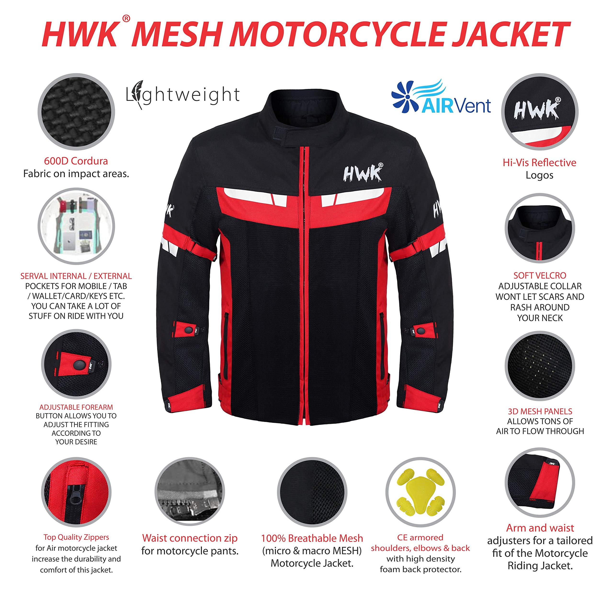 XXXX-Large, Green HWK Mesh Motorcycle Jacket Riding Air Motorbike Jacket Biker CE Armored Breathable