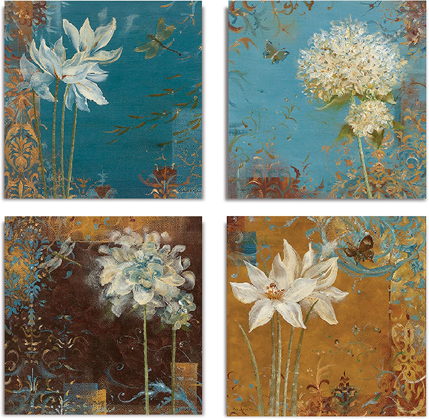WEXFORD HOME Krishna's Garden Flower Spring Collection Canvas Print 4 Panels Set Décor for Home Office Wall Art, 24X24, Frameless