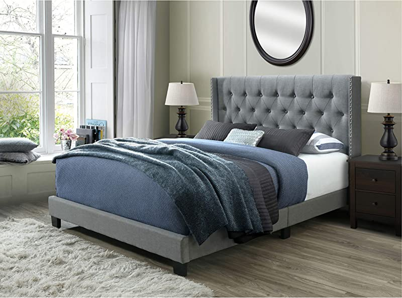 DG Casa Bardy Diamond Tufted Upholstered Wingback Panel Bed Frame Queen Size In Gray Fabric